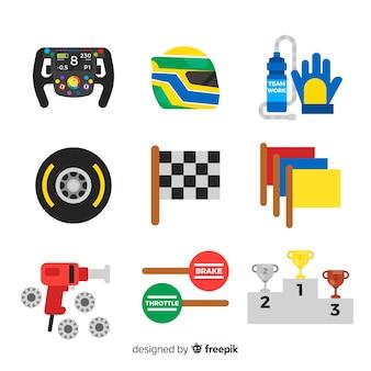 F1レーシング要素のコレクション