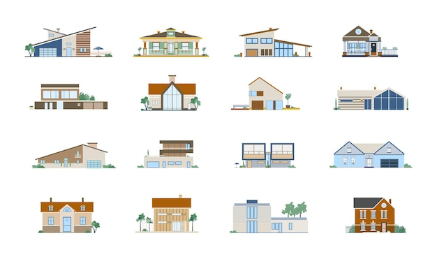 다른 주거용 주택의 외관 컬렉션. 현대적이고 고전적인 건축물의 빌라, 저택 및 코티지 세트.