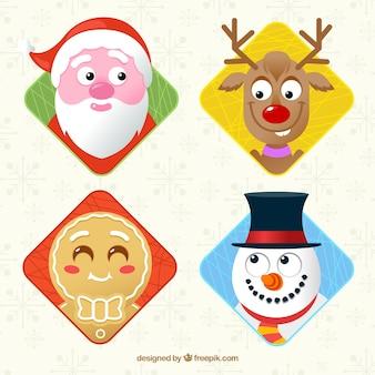 Коллекция лиц типичных рождественских персонажей