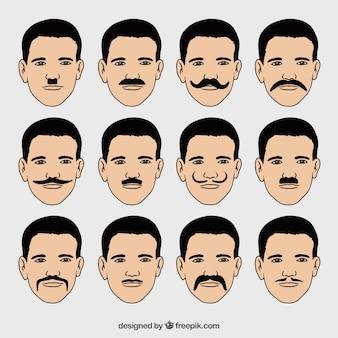 다른 유형의 콧수염이있는 얼굴 수집