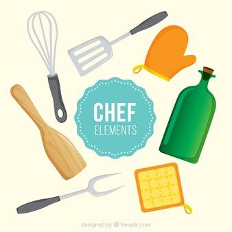 Коллекция фантастических предметов шеф-повара в плоском дизайне