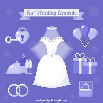 フラットデザインの素晴らしい結婚式のアイテムのコレクション