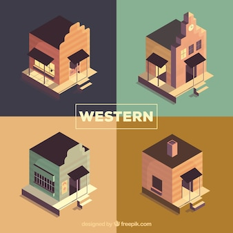 平らなデザインの遠い西の建物のコレクション