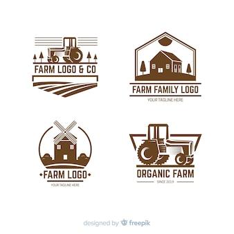 Коллекция логотипа фермы плоский стиль