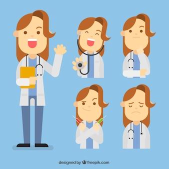 異なる顔の女性医師のコレクション