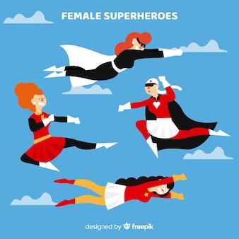 漫画スタイルの女性スーパーヒーローキャラクターのコレクション