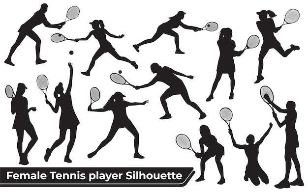 さまざまなポーズの女性テニスプレーヤーのシルエットのコレクション