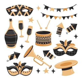 Коллекция элементов праздничного карнавала в плоском стиле с золотыми и черными цветами