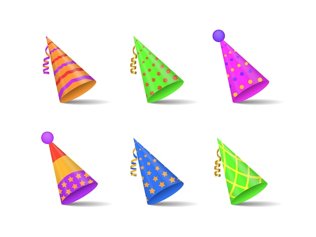 。パーティーや休日のお祝いのためのお祝いの帽子のコレクション