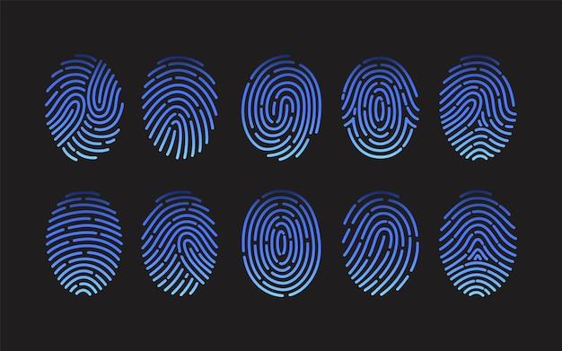 검은 배경에 고립 된 다른 종류의 지문 컬렉션입니다. 인간 손가락의 마찰 융기 흔적 번들.
