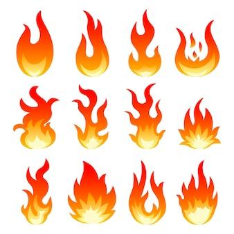 Коллекция пламени огня Premium векторы