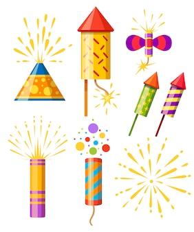 폭죽의 컬렉션. 불꽃 다채로운 아이콘 세트입니다. 새해 축하 불꽃. 흰색 배경에 그림