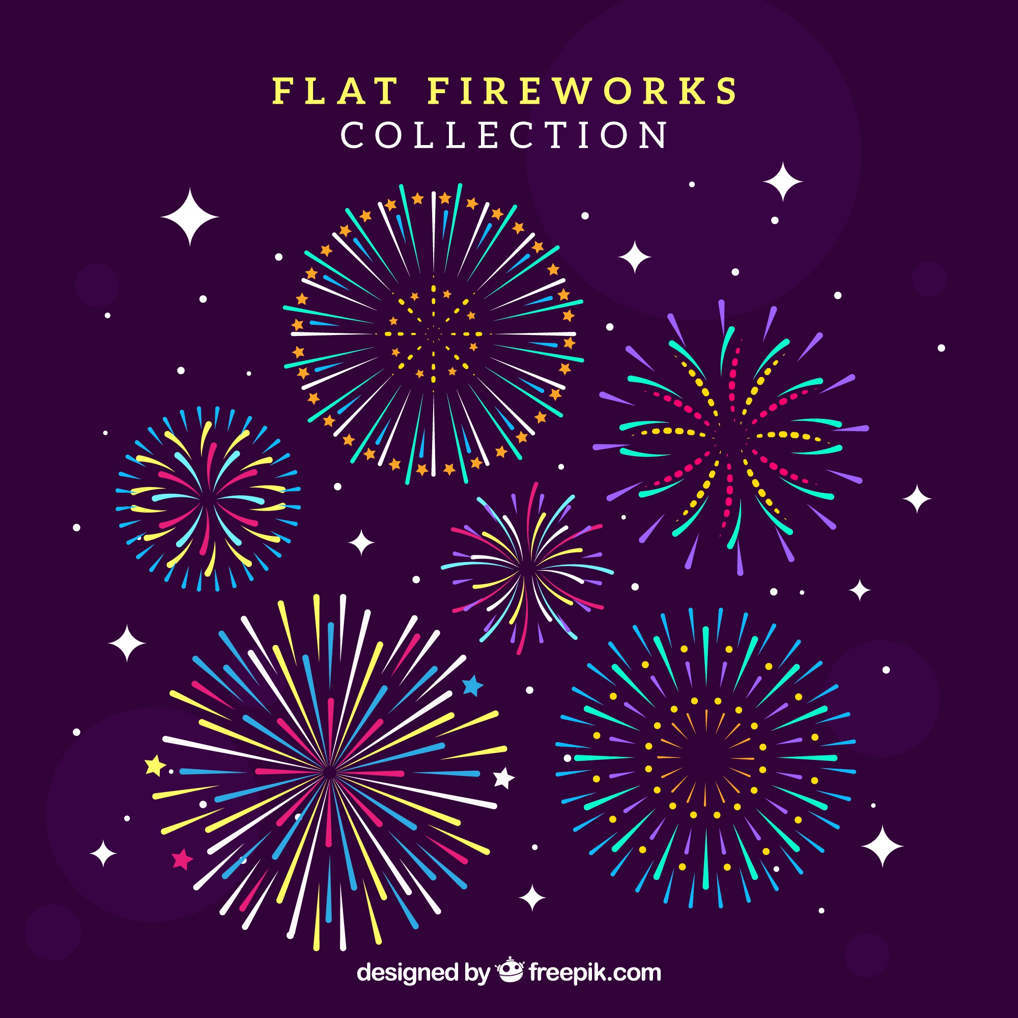 Collection of firework in flat design