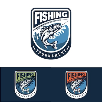 Коллекция шаблонов логотипа рыбалки