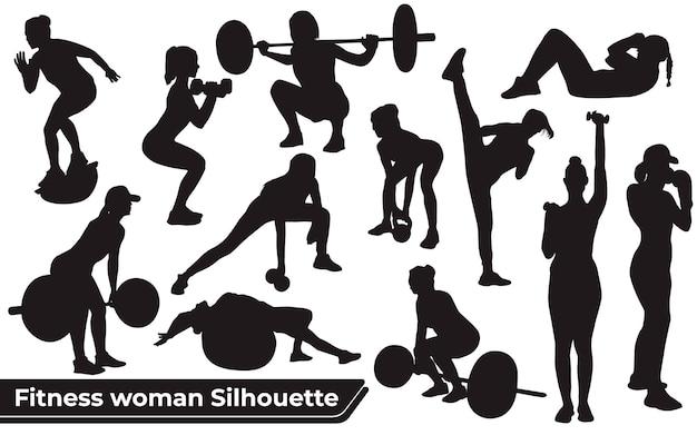Коллекция силуэтов фитнес женщина в разных позициях