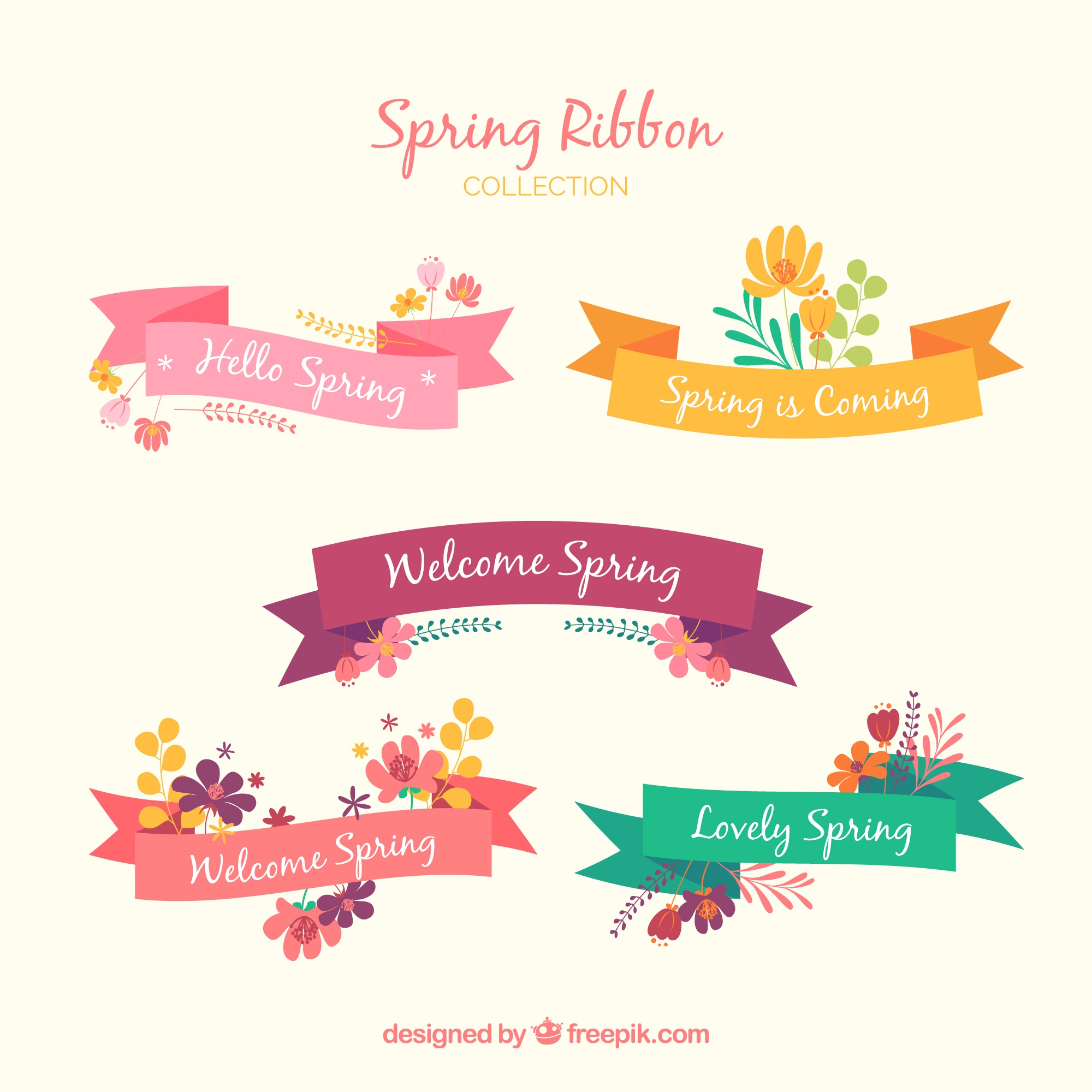 Collection of five spring ribbons