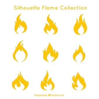 Коллекция силуэтов пламени