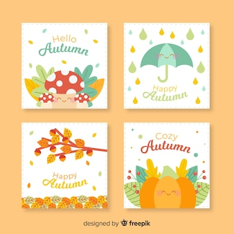 平らな秋のカードのコレクション