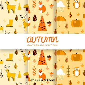 평평한 가을 패턴의 컬렉션