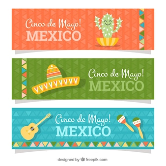 Collection of flat banners with items for cinco de mayo