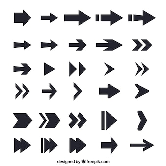 Collection of flat black arrow