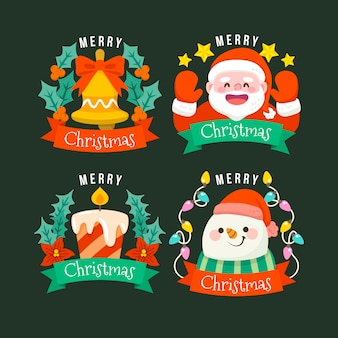 Коллекция плоских рождественских значков