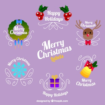 Collection of flat christmas stickers with ornamental lines