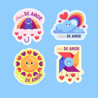 평면 chuva de amor 장식 요소 컬렉션