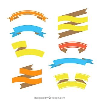 Коллекция плоских цветных лент в плоской конструкции