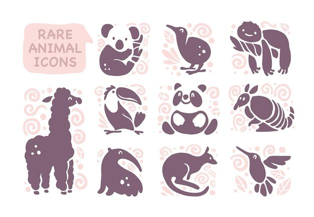 白い背景で隔離のフラットかわいい動物アイコンのコレクション。珍しい動物や鳥のシンボル。手描きのエキゾチックな熱帯動物のエンブレム。ロゴデザイン、インフォグラフィック、プリントなどに最適です。