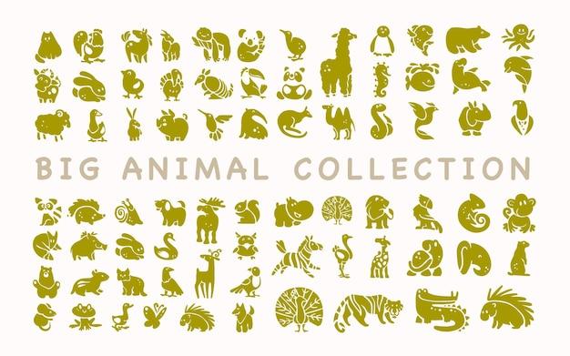 흰색 배경에 고립 된 평면 귀여운 동물 아이콘 모음