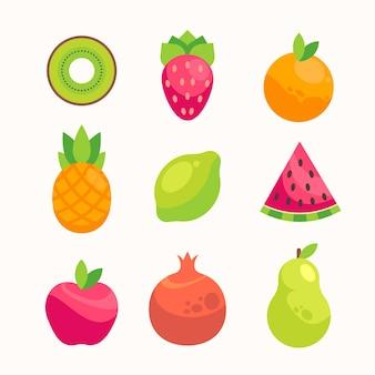 Коллекция плоских вкусных фруктов
