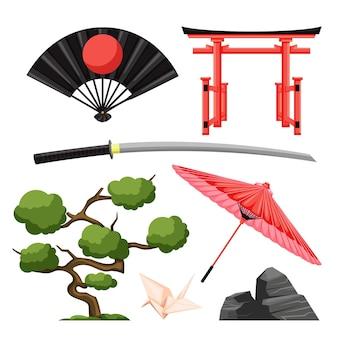 フラットなデザインの古代日本文化要素のコレクション