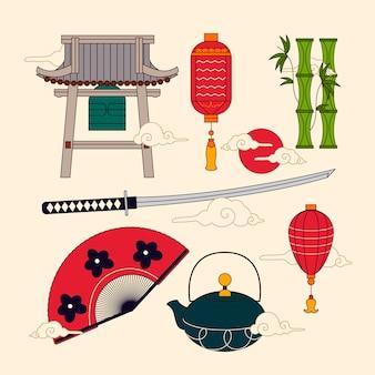 フラットなデザインの古代日本の要素のコレクション