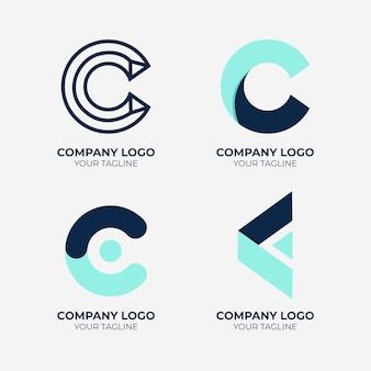 평면 디자인 c 로고 컬렉션 무료 벡터