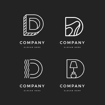 평면 디자인 d 로고 컬렉션