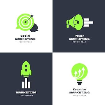 Коллекция плоских маркетинговых логотипов