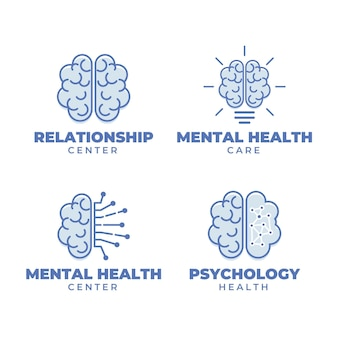 평면 디자인 정신 건강 로고 컬렉션