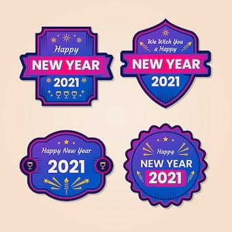 평면 디자인 새 해 2021 배지 컬렉션