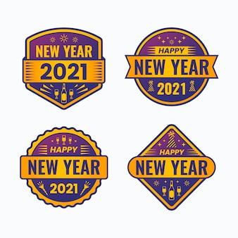 평면 디자인 새 해 2021 레이블 컬렉션