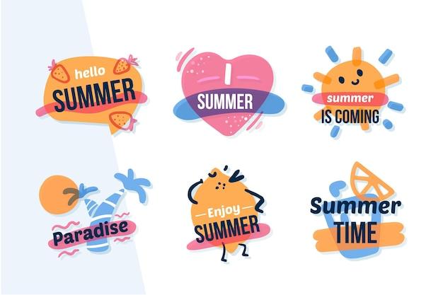 Коллекция плоских дизайнерских летних значков