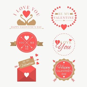 Коллекция плоских дизайнерских этикеток на день святого валентина