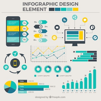Collection of flat designs for infographics