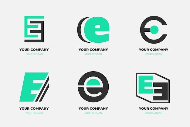 Коллекция плоских шаблонов логотипа e