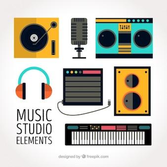 음악 스튜디오를위한 평면 요소의 컬렉션