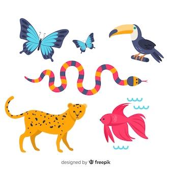 평평한 이국적인 동물의 컬렉션