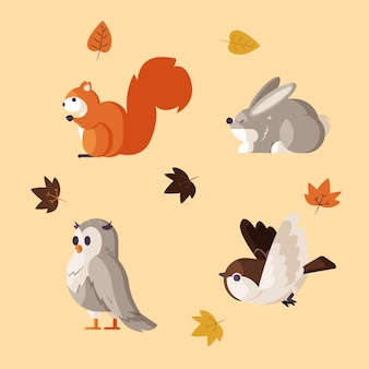 평평한 숲 동물의 컬렉션