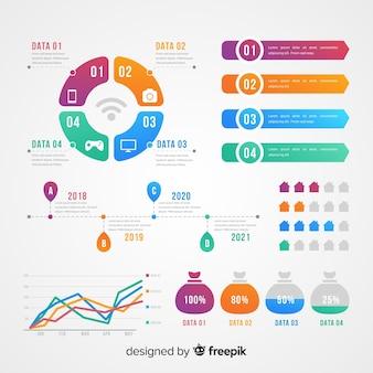 플랫 infographic 요소의 컬렉션