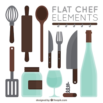 Collection of flat kitchen utensils