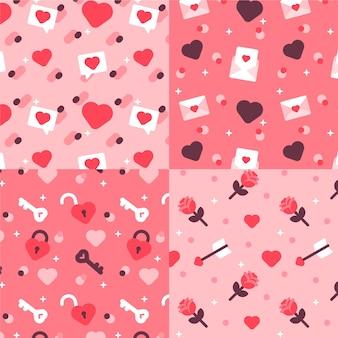 편평한 사랑스러운 발렌타인 패턴의 컬렉션